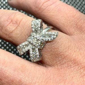 Big Bow Knot Stackable Ring Micro Pave CZ